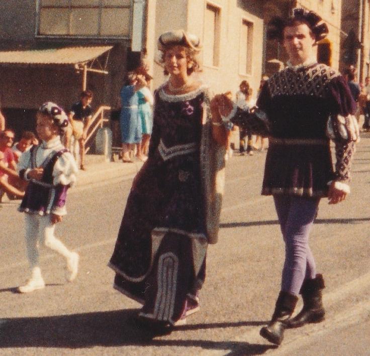 Palio 83 - Dama (Raffaella Pavoni)- Cavaliere (Francesco Alberti) e Paggetto (Nando Marrozzini)